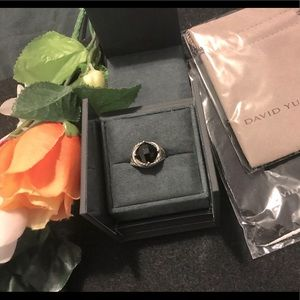 D.YURMAN BLACK ONYX TWISTED CABLE RING W/BOX/POUCH